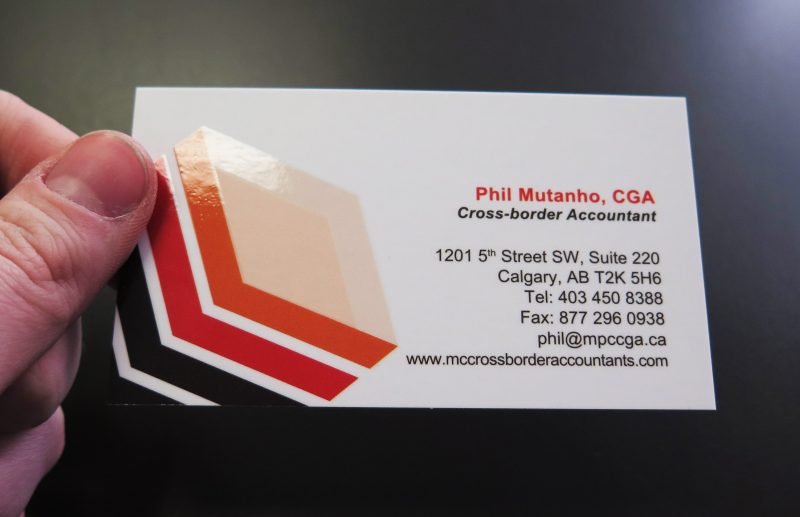 Spot UV Custom Business Cards Calgary